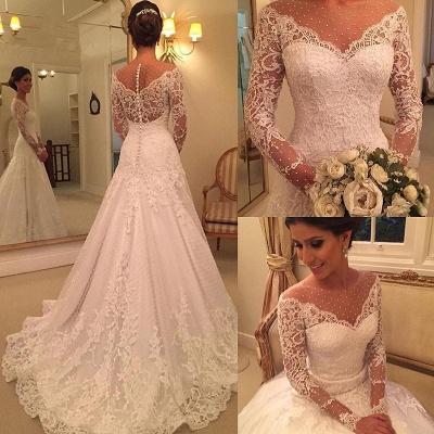 Voir Sexy à travers des robes de mariée en dentelle à manches longues pas cher | Robes de mariée élégantes appliques une ligne 2020_3