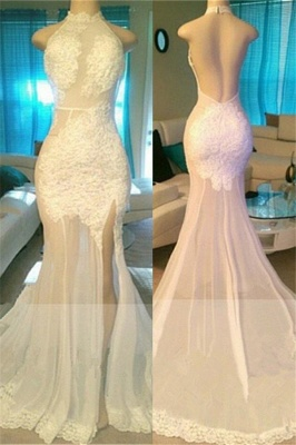 Side Slit Lace Appliques White Prom Dresses Cheap | Open Back Sheer Tulle Evening Gowns bc1933_1