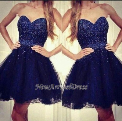 Sweetheart Short Sequins Tulle Strapless Beading Navy-Blue Homecoming Dresses_1