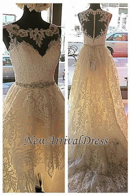 Button Sleeveless Glamorous Lace Appliques Designer Tulle New Arrival Wedding Dresses_1