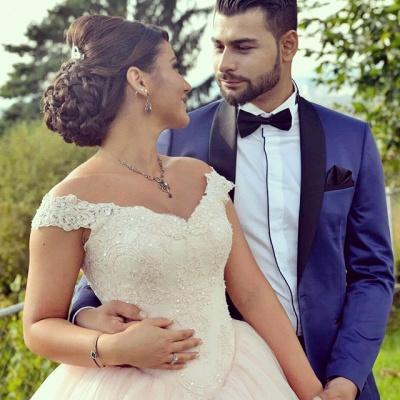 Último vestido de novia con hombros descubiertos, vestido de princesa, apliques de encaje de tul, vestido de novia_3