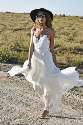 Simple Design Sexy Spaghetti Straps Elegant Lace Appliques Long Chiffon Beach Wedding Dress Cheap_1
