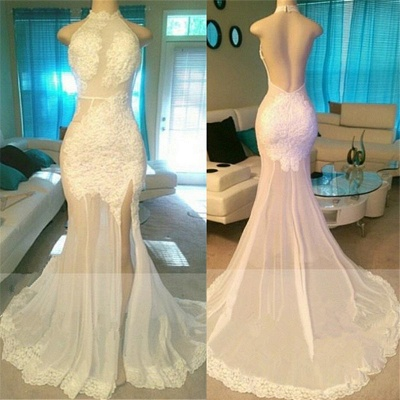 Side Slit Lace Appliques White Prom Dresses Cheap | Open Back Sheer Tulle Evening Gowns bc1933_3