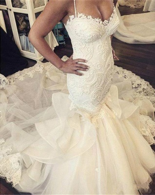 Sexy Mermaid Spaghetti Strap Wedding Dresses New Arrival Lace Applique Bridal Gowns_3
