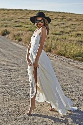 Simple Design Sexy Spaghetti Straps Elegant Lace Appliques Long Chiffon Beach Wedding Dress Cheap_5