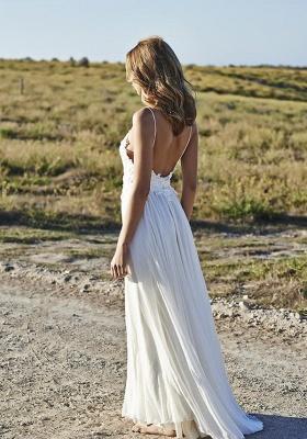 Simple Design Sexy Spaghetti Straps Elegant Lace Appliques Long Chiffon Beach Wedding Dress Cheap_3