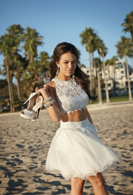 Short Cocktail Dresses White Lace Sleeveless Appliques Tulle Hot Homecoming Dresses_1