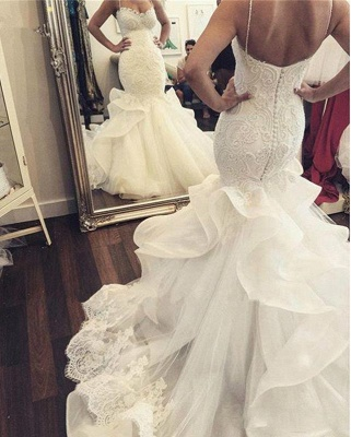 Sexy Mermaid Spaghetti Strap Wedding Dresses New Arrival Lace Applique Bridal Gowns_4