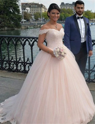 Latest Off Shoulder Ball Gown Princess Dress Tulle Lace Applique Wedding Dress_1
