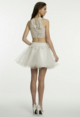 Short Cocktail Dresses White Lace Sleeveless Appliques Tulle Hot Homecoming Dresses_3