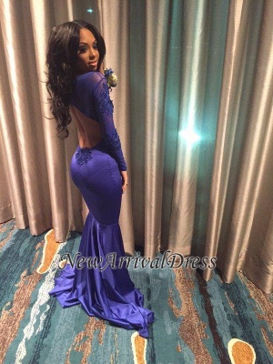 Long-Sleeves Open-Back Mermaid Appliques Sexy Prom Dress BA4506_3