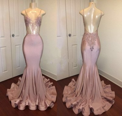 Open Back Spaghetti Straps Beads Long Prom Dresses Cheap for Juniors | Mermaid Formal Dresses_4