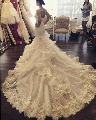 Vestidos de novia atractivos de la correa de espagueti de la sirena Vestidos de novia del aplique del cordón de la nueva llegada_1
