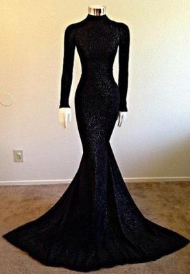 High Neck Long Sleeve Black Long Prom Dresses Cheap | Vintage Lace Mermaid Formal Evening Dress BA5158_1