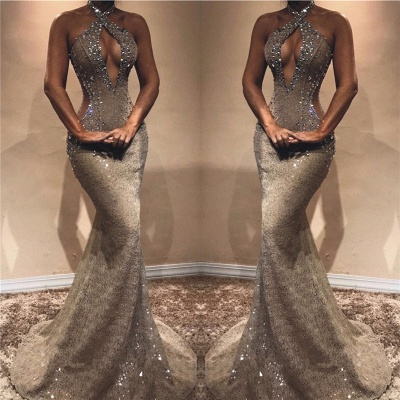 Halter Open Back Long Prom Dresses Cheap   Shiny Beads Crystals Illusion Mermaid Formal Gowns_3