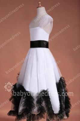Charming Flower Girls DressesStraps Cap Sleeve Flower Black Sash Floor Length Zipper Girls Pageant Gowns_6