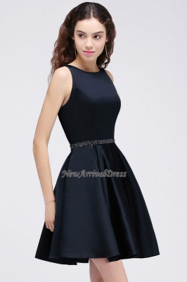 Short A-Line Sequare Beadings Black Sleeveless Homecoming Dresses_5