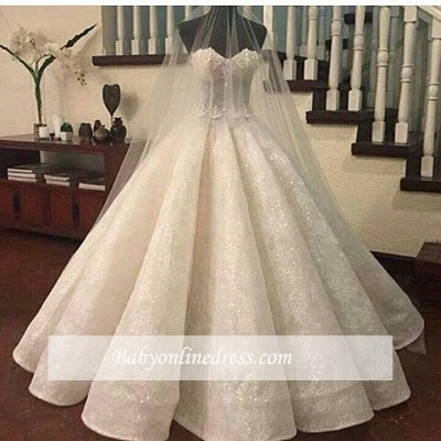 Gorgeous Ruffles Sweetheart Bridal Gowns Cheap | Sexy Ball Gown Wedding Dresses Online_1