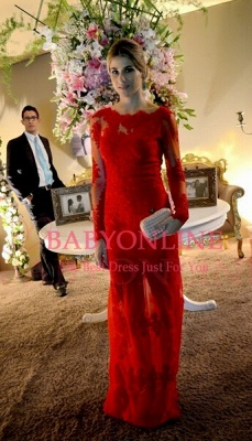 Long Sleeve Red Charming Evening Gowns Sexy Lace Floor LengthParty Dresses_2