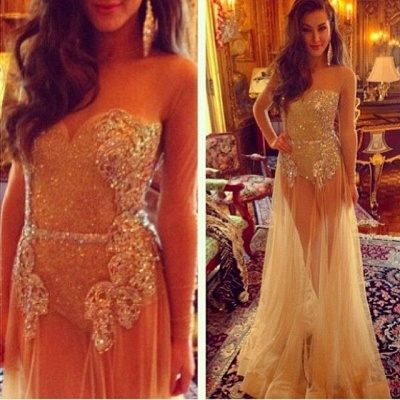 Sweetheart Champagne Sheer Tulle Sexy Prom Dresses with Long Sleeves_1