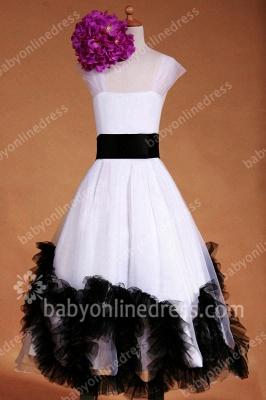 Charming Flower Girls DressesStraps Cap Sleeve Flower Black Sash Floor Length Zipper Girls Pageant Gowns_3