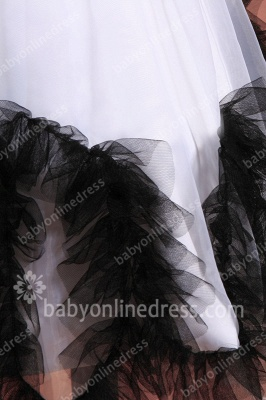 Charming Flower Girls DressesStraps Cap Sleeve Flower Black Sash Floor Length Zipper Girls Pageant Gowns_4