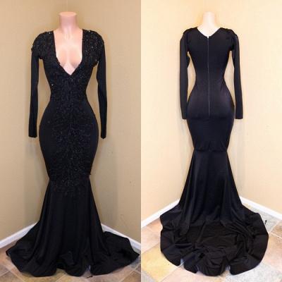 Black Beads Long Sleeve Mermaid Prom Dresses Cheap BA8203_3