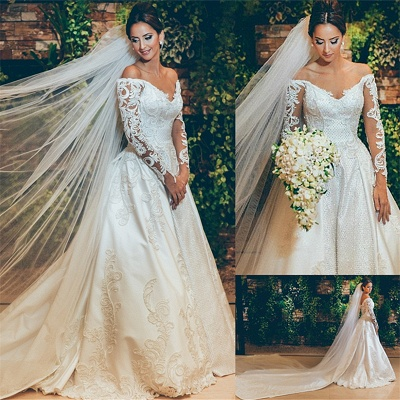 3D Lace Appliques Off The Shoulder Wedding Dresses | Long Sleeve Satin Elegant Bridal Gowns 2019 BC0238_3