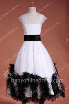 Charming Flower Girls DressesStraps Cap Sleeve Flower Black Sash Floor Length Zipper Girls Pageant Gowns_5