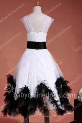 Charming Flower Girls DressesStraps Cap Sleeve Flower Black Sash Floor Length Zipper Girls Pageant Gowns_8