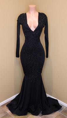 Black Beads Long Sleeve Mermaid Prom Dresses Cheap BA8203_2