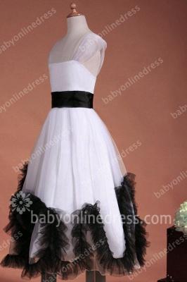Charming Flower Girls DressesStraps Cap Sleeve Flower Black Sash Floor Length Zipper Girls Pageant Gowns_7