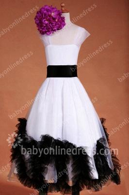 Charming Flower Girls DressesStraps Cap Sleeve Flower Black Sash Floor Length Zipper Girls Pageant Gowns_1