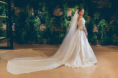 3D Lace Appliques Off The Shoulder Wedding Dresses | Long Sleeve Satin Elegant Bridal Gowns 2019 BC0238_4