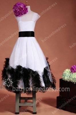 Charming Flower Girls DressesStraps Cap Sleeve Flower Black Sash Floor Length Zipper Girls Pageant Gowns_2