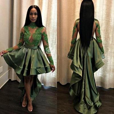 Long See Through Lace Long Sleeve Prom Dress   Cheap Hi-lo Dark Green Formal Dresses_3