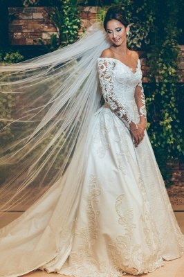 3D Lace Appliques Off The Shoulder Wedding Dresses | Long Sleeve Satin Elegant Bridal Gowns 2019 BC0238_1