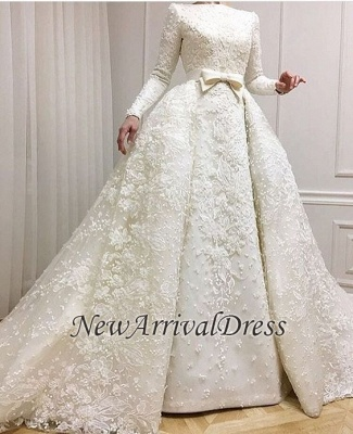 Muslim Lace Appliques Jewel Ball Gown Bridal Dress | Luxury Beaded Overskirt Long Sleeve Wedding Dresses Cheap Online_1