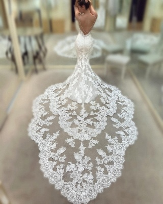 Cathedral Lace Train Backless Wedding Dresses Cheap 2021 | V-neck Spaghetti Straps Sheath Bridal Gowns_3
