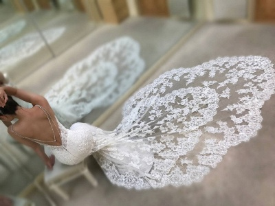 Cathedral Lace Train Backless Wedding Dresses Cheap 2021 | V-neck Spaghetti Straps Sheath Bridal Gowns_5