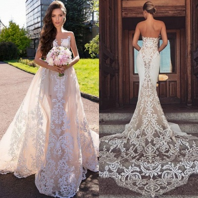 Chic Sleeveless Lace Wedding Dresses | Long Tulle Mermaid Bridal Gowns 2020_4