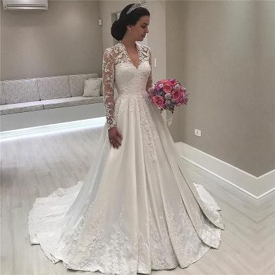 V-Ausschnitt Spitze Langarm Brautkleider Vintage | Satin Appliques 2021 Königliches Hochzeitskleid_3