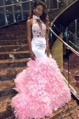 New Arrival Pink High Neck Mermaid Prom Dresses Keyhole Applqiues Formal Dresses SK0129_4