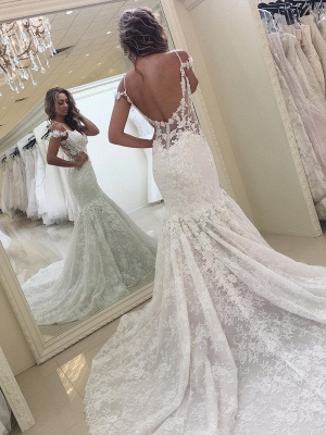 Modern Lace Off-the-shoulder Mermaid White Wedding Dress_1