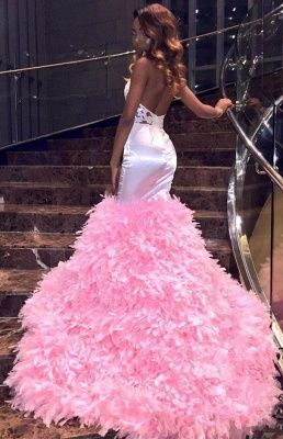 New Arrival Pink High Neck Mermaid Prom Dresses Keyhole Applqiues Formal Dresses SK0129_3