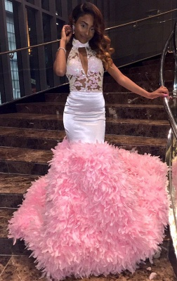 New Arrival Pink High Neck Mermaid Prom Dresses Keyhole Applqiues Formal Dresses SK0129_1