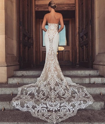 Chic Sleeveless Lace Wedding Dresses | Long Tulle Mermaid Bridal Gowns 2020_3