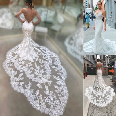 Cathedral Lace Train Backless Wedding Dresses Cheap 2019 | V-neck Spaghetti Straps Sheath Bridal Gowns_4