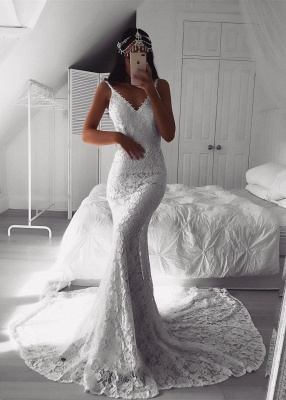 Modern Beautiful Lace V-neck Mermaid Wedding Dresses | Custom Made Online Cheap Bridal Gowns_1