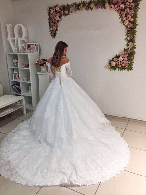 Popular New Arrival Lace Off Shoulder Long Sleeve Ball Gown Elegant Wedding Dresses_4